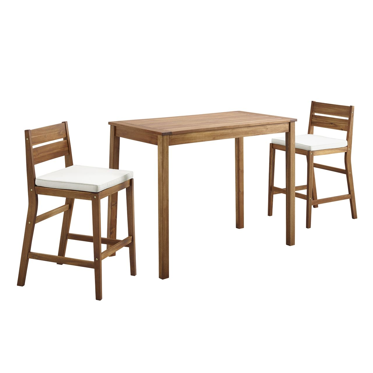 Walker Edison 3-Piece Acacia Counter Height Dining Group - Brown