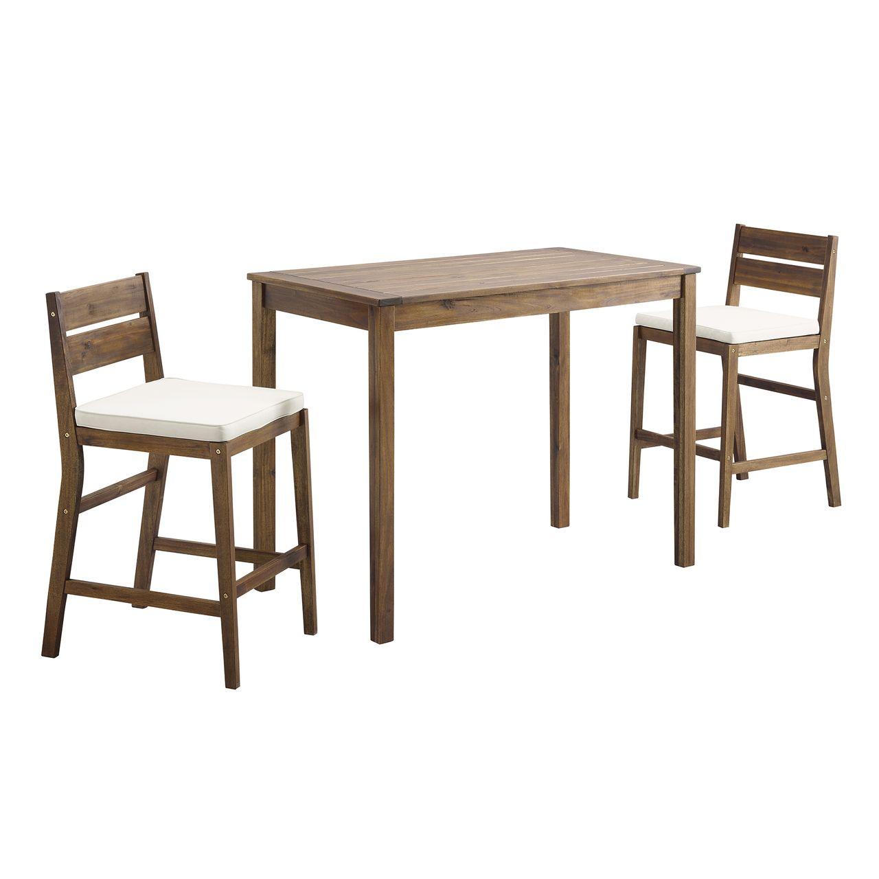 Walker Edison 3-Piece Acacia Counter Height Dining Group - Dark Brown