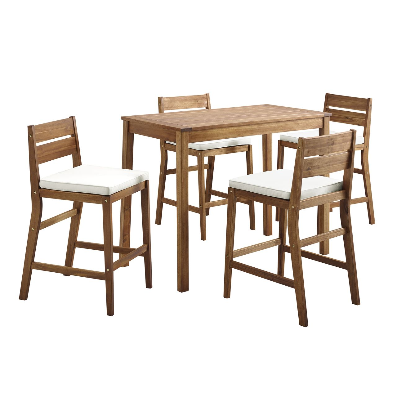 Walker Edison 5-Piece Acacia Counter Height Dining Group - Brown
