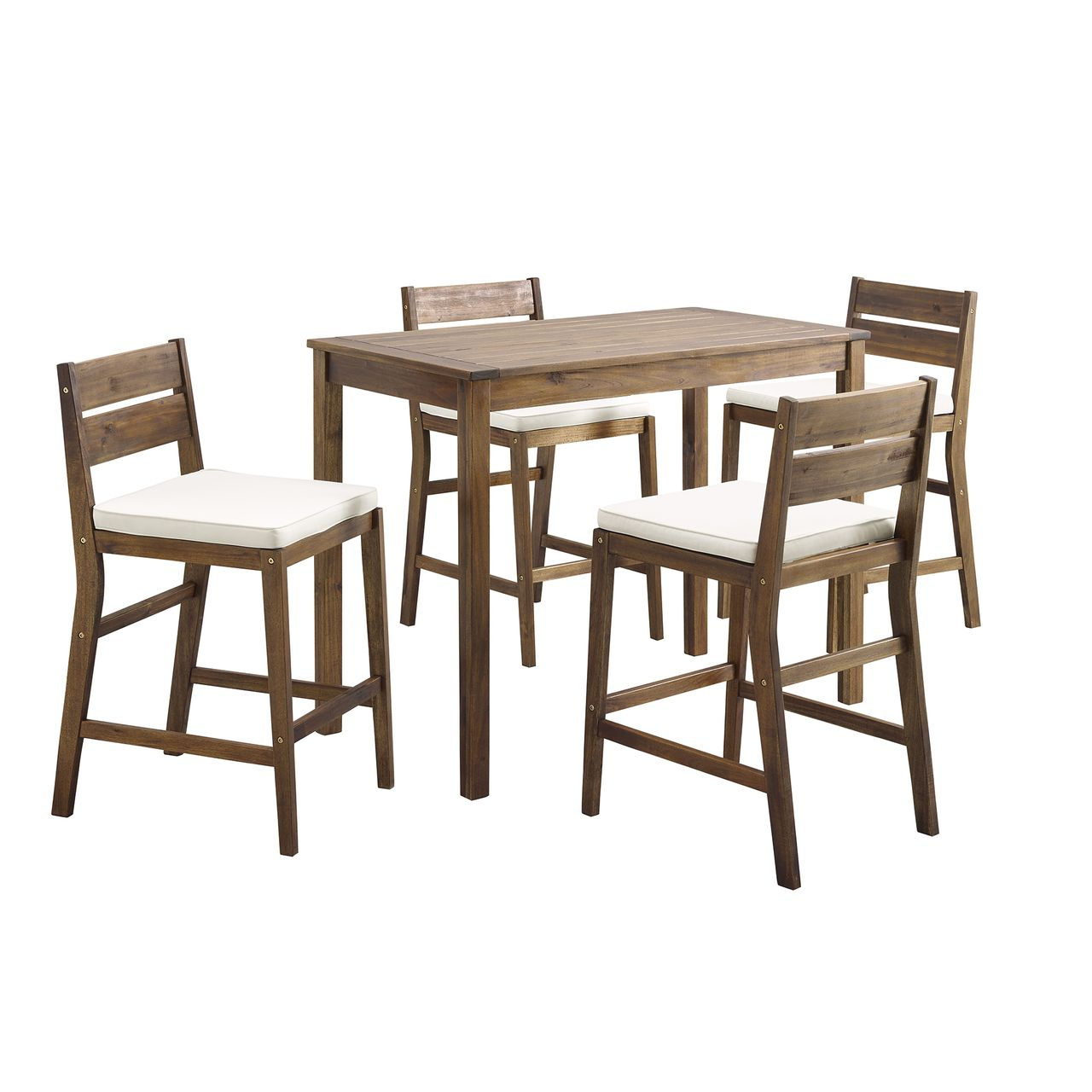 Walker Edison 5-Piece Acacia Counter Height Dining Group - Dark Brown