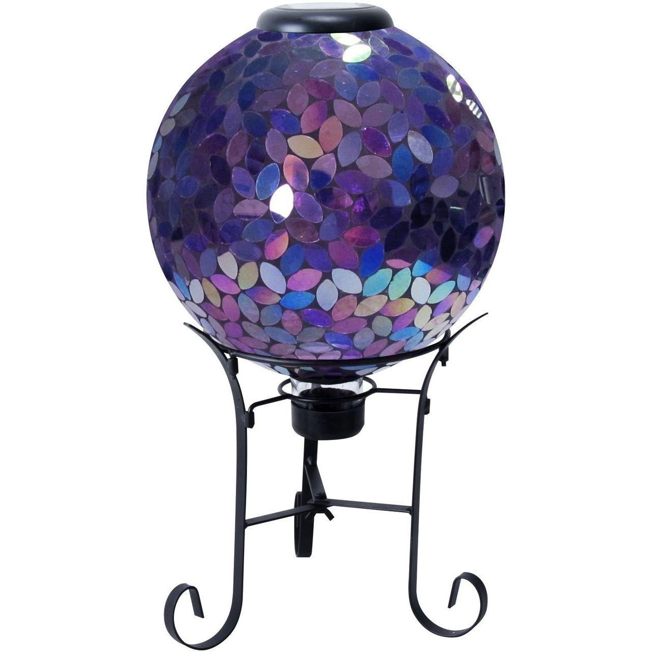 Alpine GRS122A-SLR 10'' Solar Purple Mosaic Gazing Globe with Metal Stand