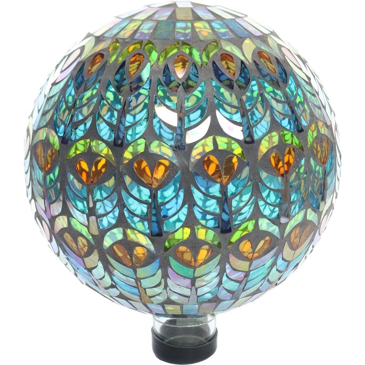 Alpine GRS926 10'' Mesmerizing Peacock Feather Pattern Mosaic Gazing Globe