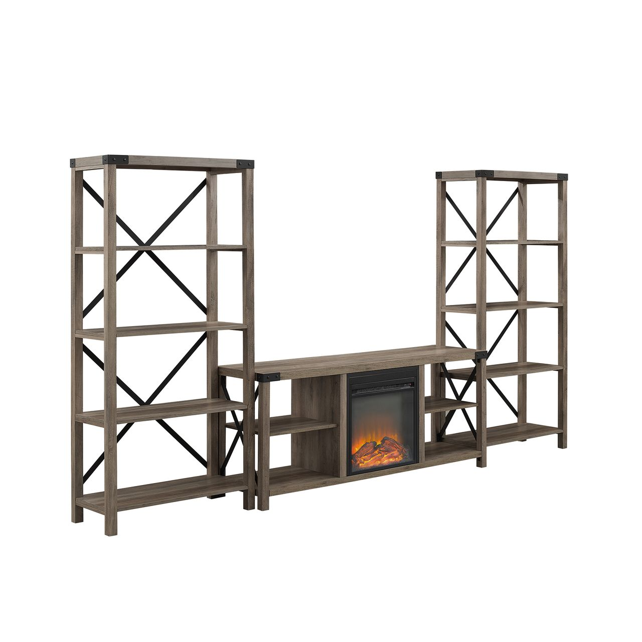 """Walker Edison X Accent Wall With 60"""" Fireplace Console - Grey Wash"""