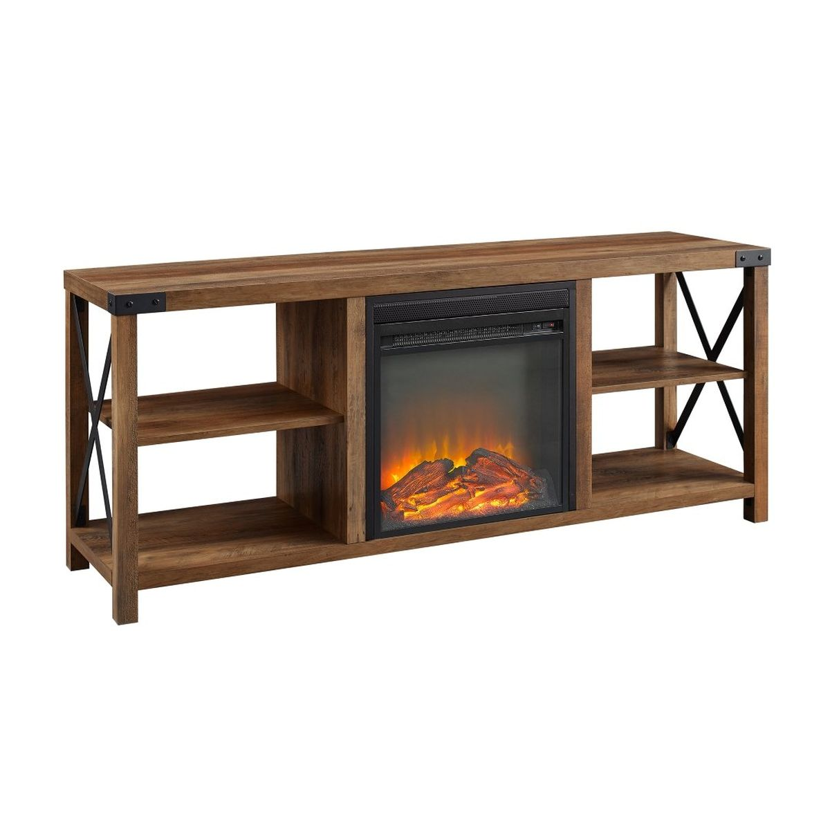 """Walker Edison X Accent Wall With 60"""" Fireplace Console - Barnwood"""