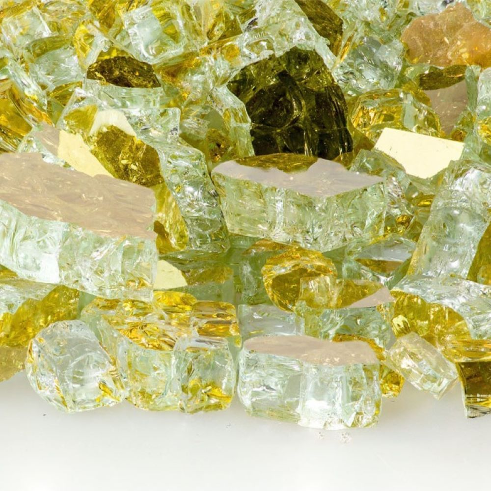 "Fireglass Plus 10 Lbs 1/2"" Reflective Fireglass - Goldrush"