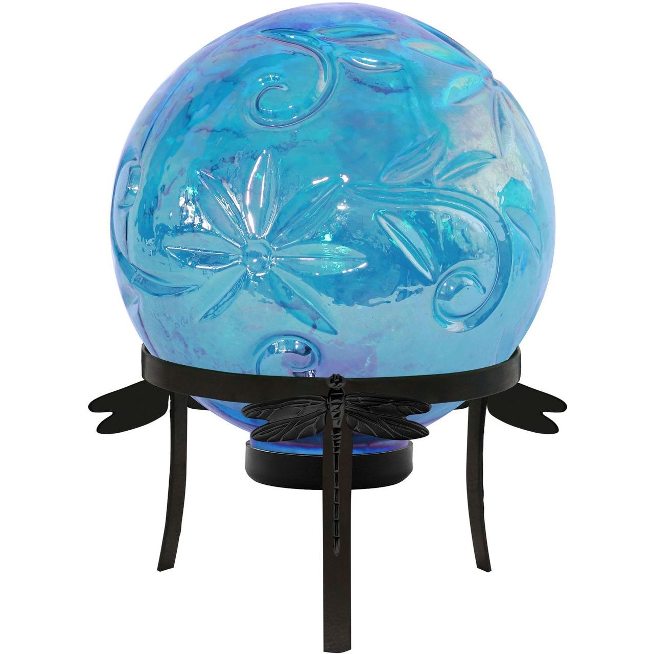 Alpine HGY112A-BL Pearlized Blue Glass LED Gazing Globe & Stand