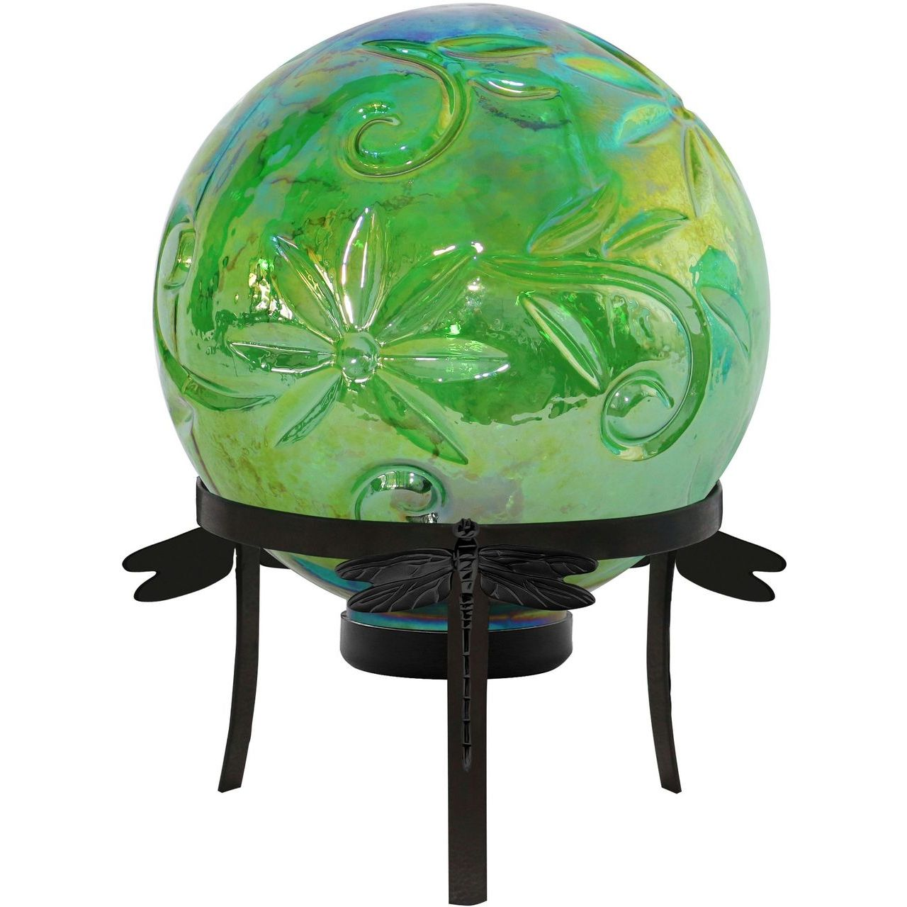 Alpine HGY112A-GN Pearlized Green Glass LED Gazing Globe & Stand