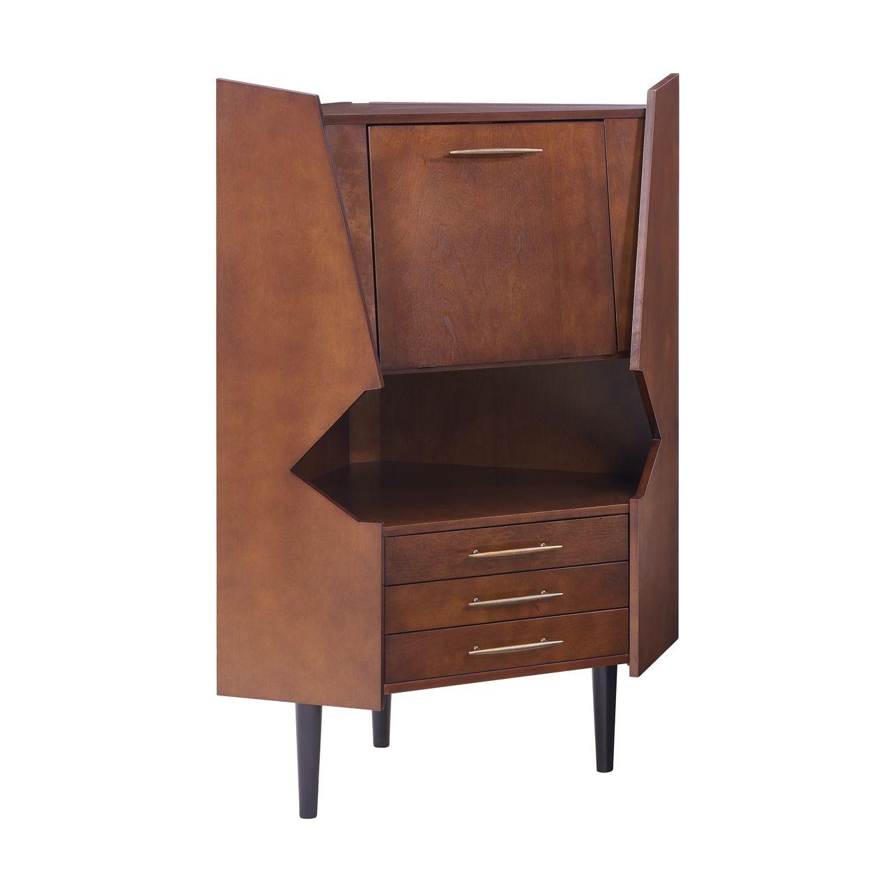 SEI Larson Corner Storage Bar Cabinet in Dark Tobacco / Black