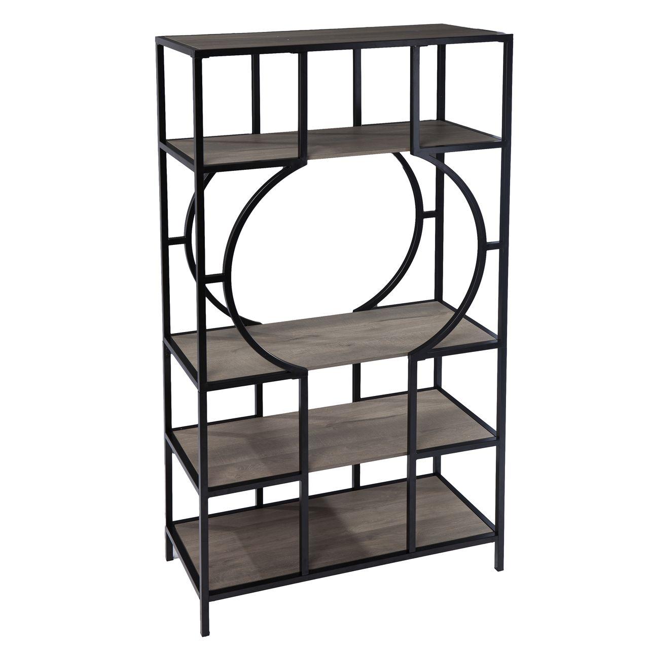 SEI Tyberton 5-Tier Bookcase in Natural / Black