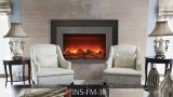 "Deep Insert Electric 30"" Fireplace with Black Steel Surround & Overlay"
