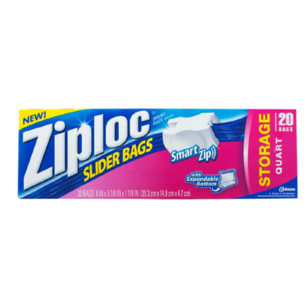 SC Johnson 1 Quart Ziploc EZ Zipper Storage Bag - 12 Packs