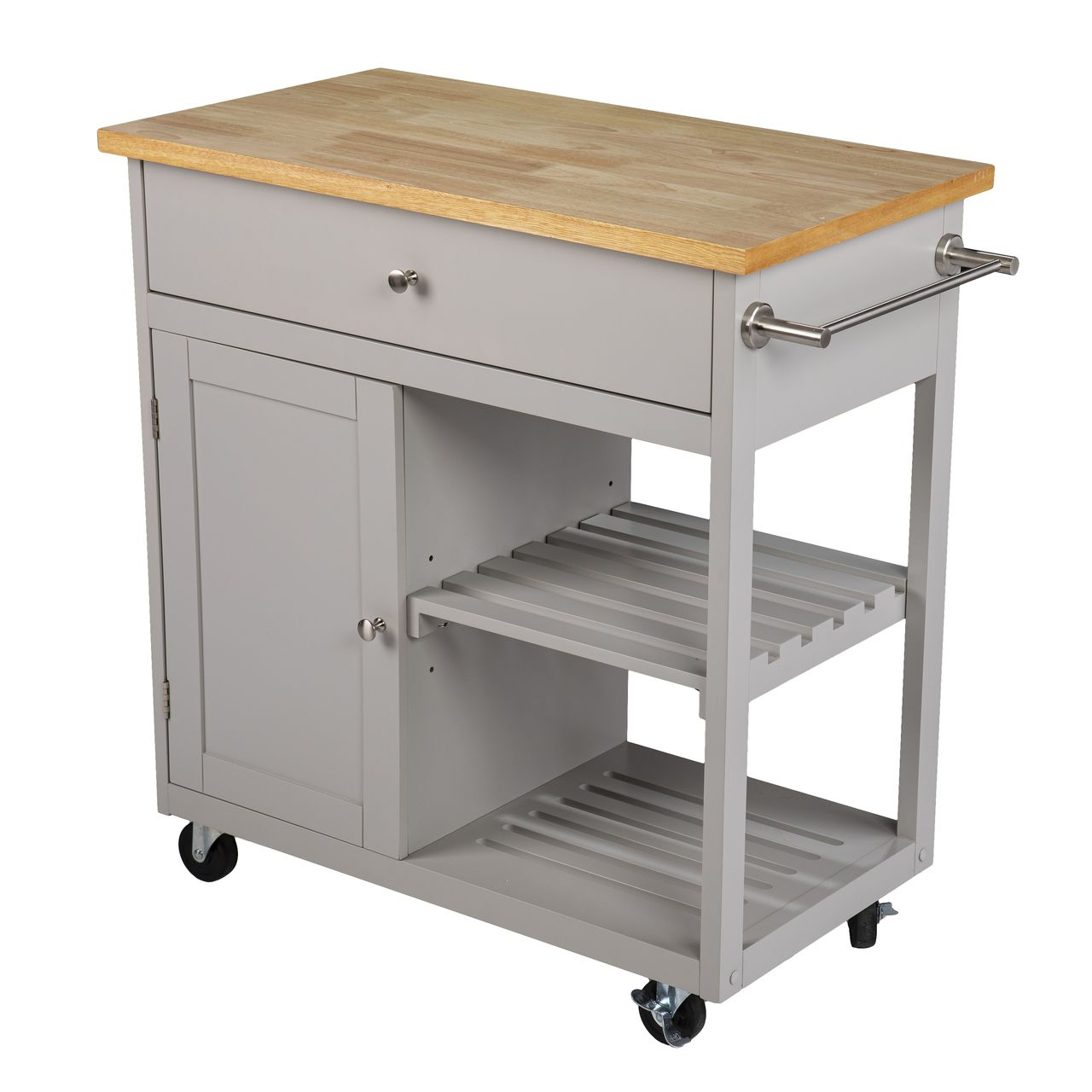 SEI Rolling Kitchen Island With Storage in Cool Gray / Natural