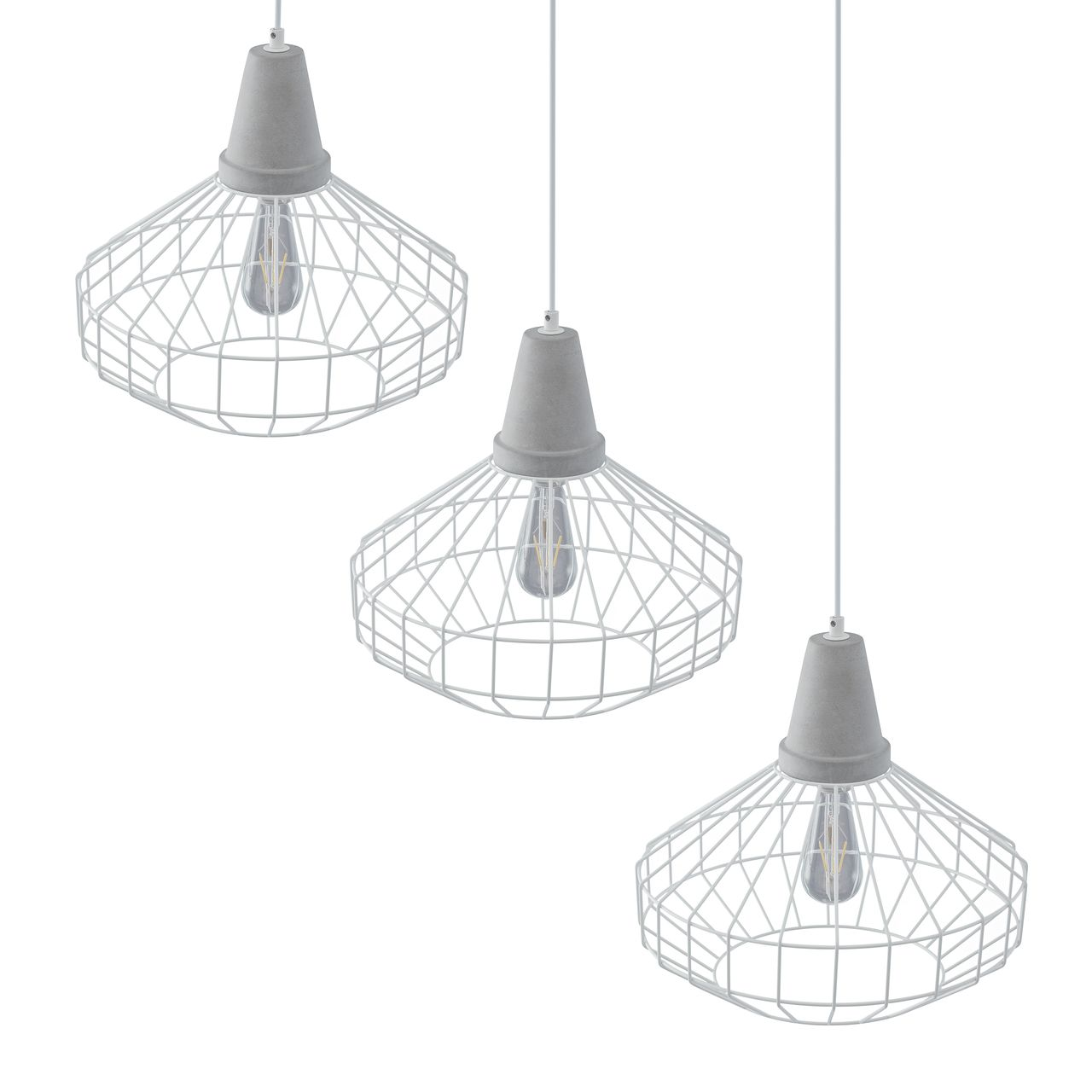 SEI Brinland Cage Pendant Lamp in White / Cement Gray - Set of 3