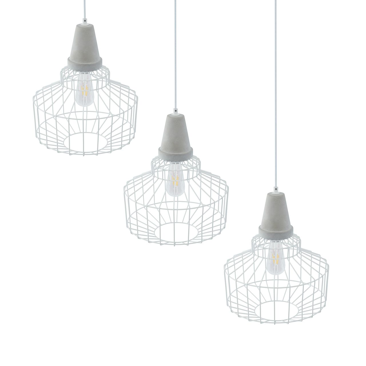 SEI Brantville Cage Pendant Lamp in White / Cement Gray - Set of 3