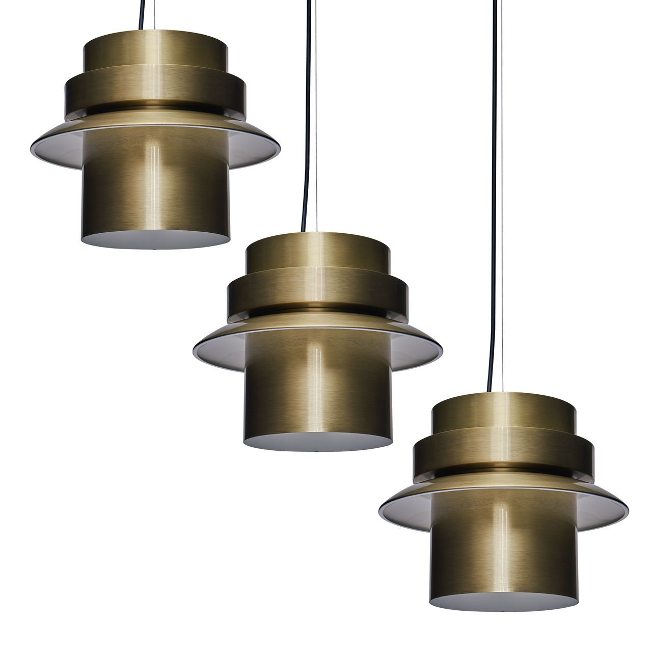 SEI Alistar Metal Art Deco Pendant Light in Antique Brass - Set of 3