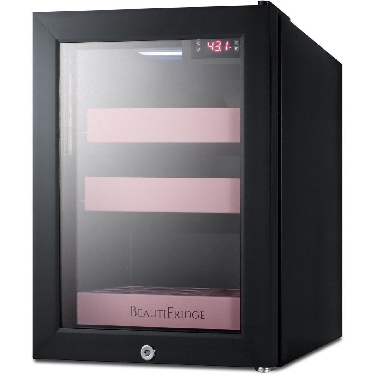 Summit LX114LP BeautiFridge Cosmetics Refrigerator - Glass/Pink