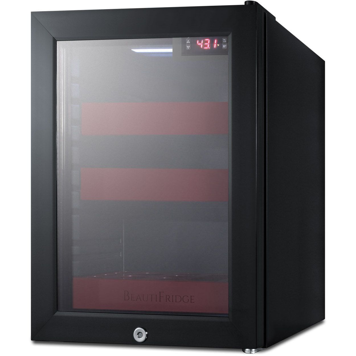 Summit LX114LR BeautiFridge Cosmetics Refrigerator - Glass/Ruby