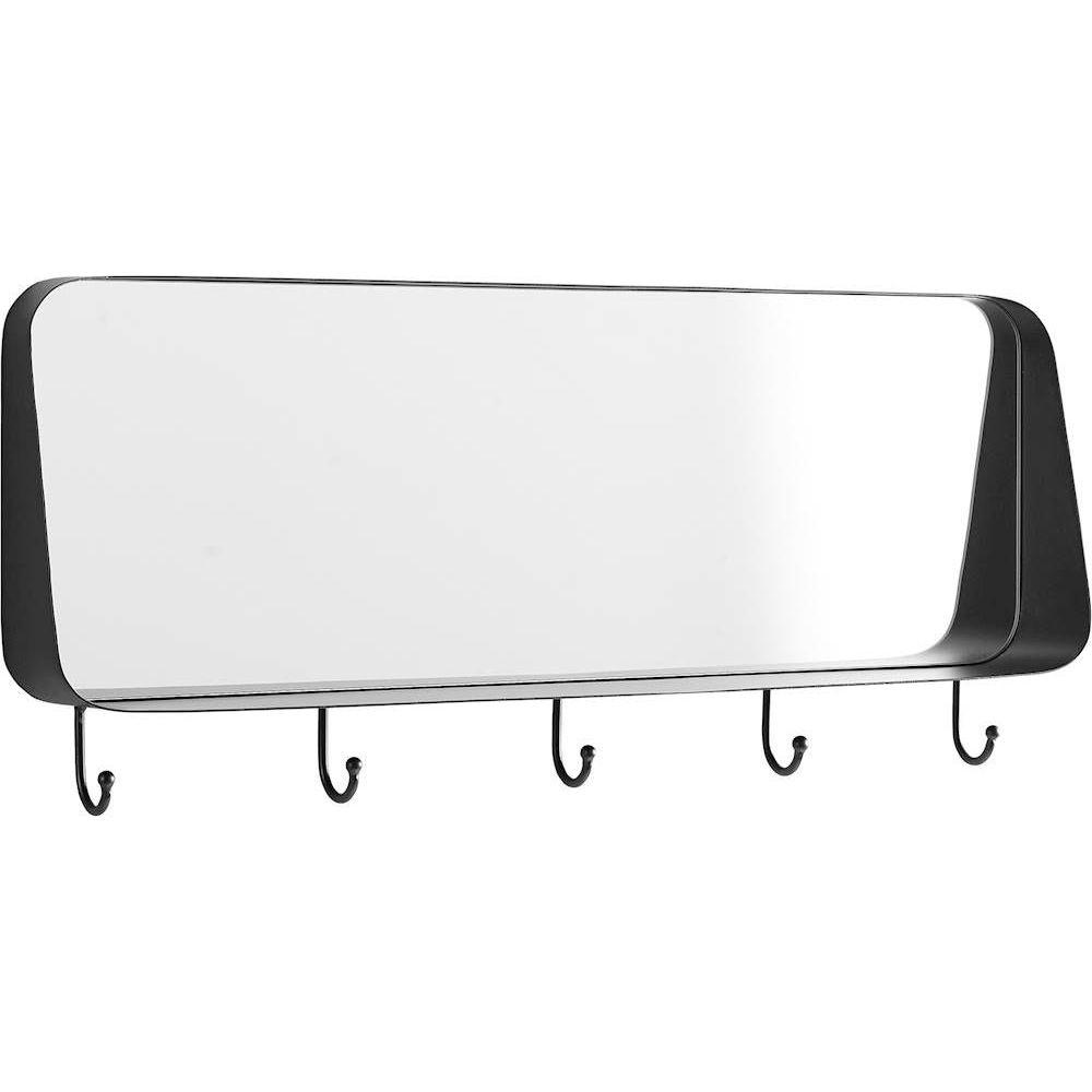 "Walker Edison 30"" Rounded Corner Mirror With Hooks - Black"