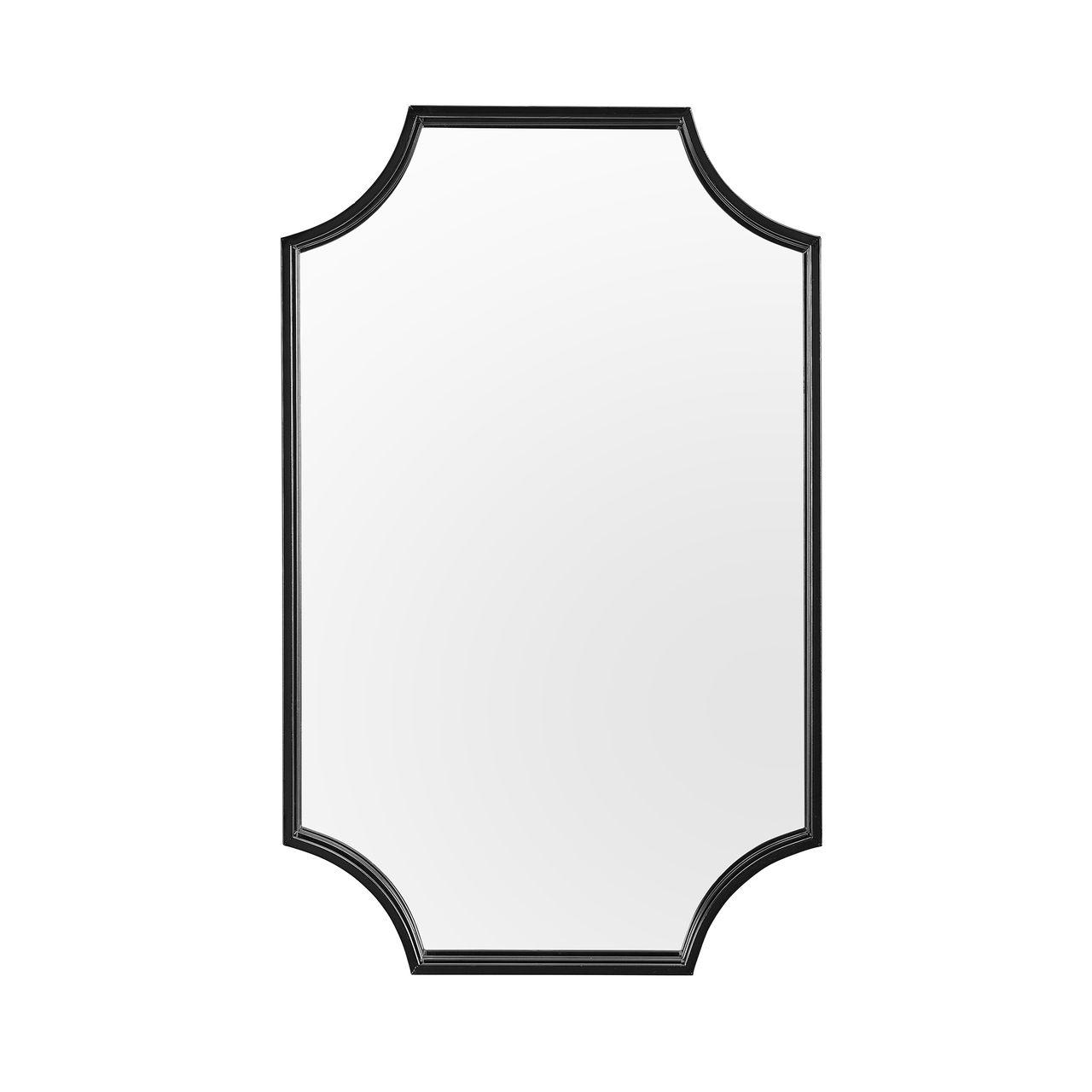 """Walker Edison 32"""" Notched Corner Metal Framed Mirror?- Black"""