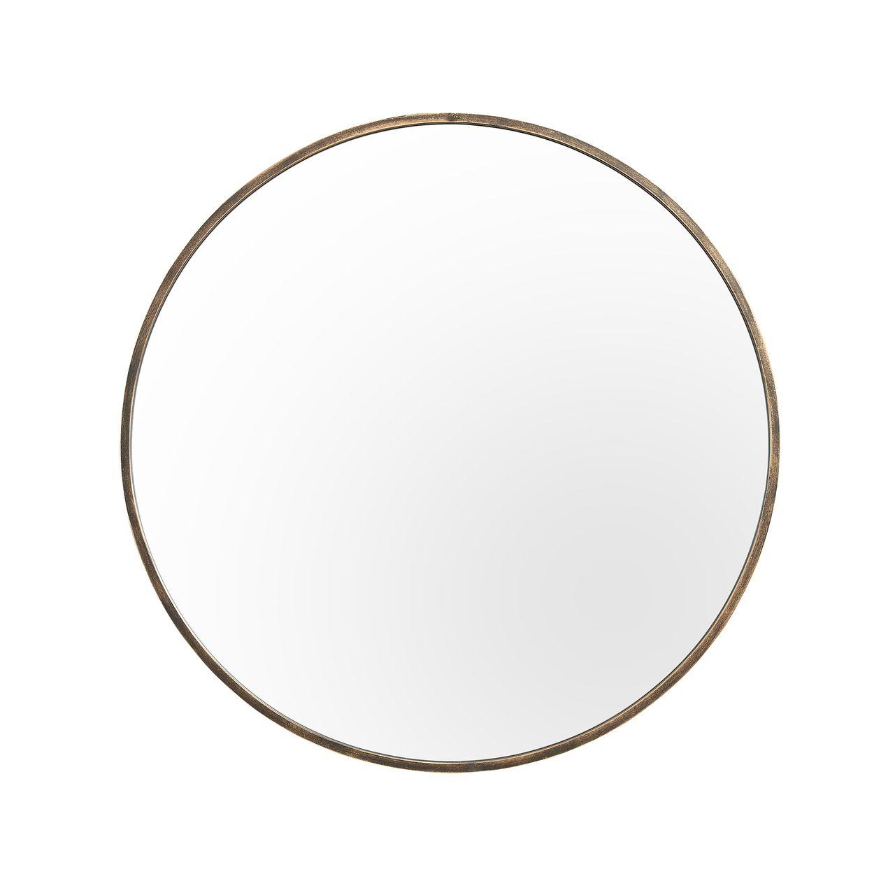 """Walker Edison 32"""" Round Metal Framed Mirror - Antique Brass"""