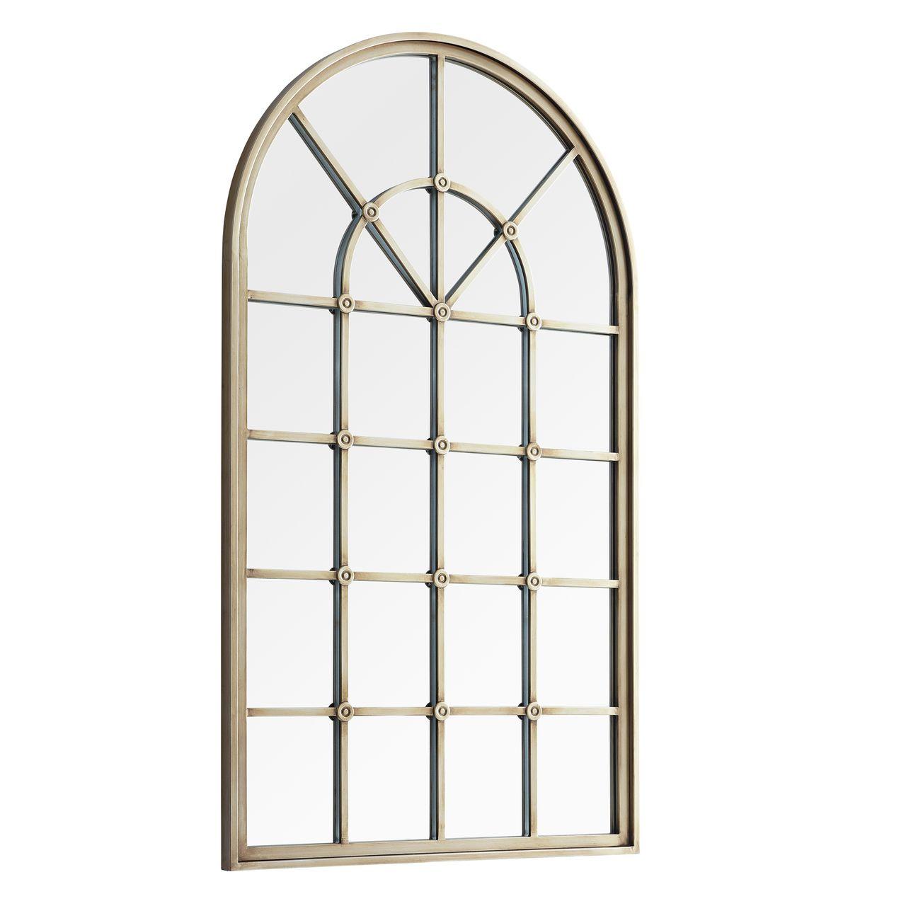 "Walker Edison 50"" Arched Windowpane Mirror - Antique Pewter"