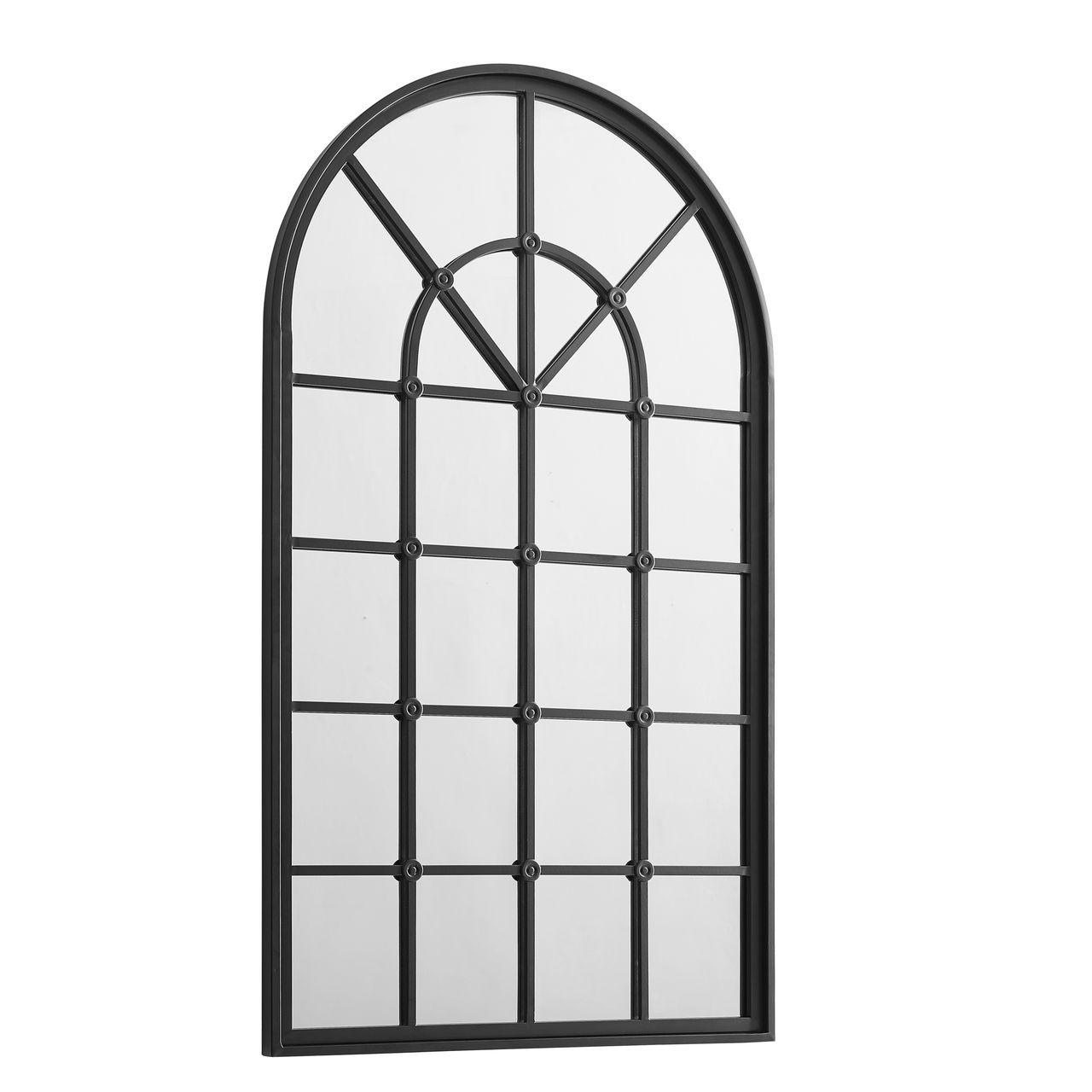 "Walker Edison 50"" Arched Windowpane Mirror - Black"