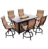 Monaco 7-Piece High-Dining Bar Set with 30,000 BTU Fire Pit Bar Table