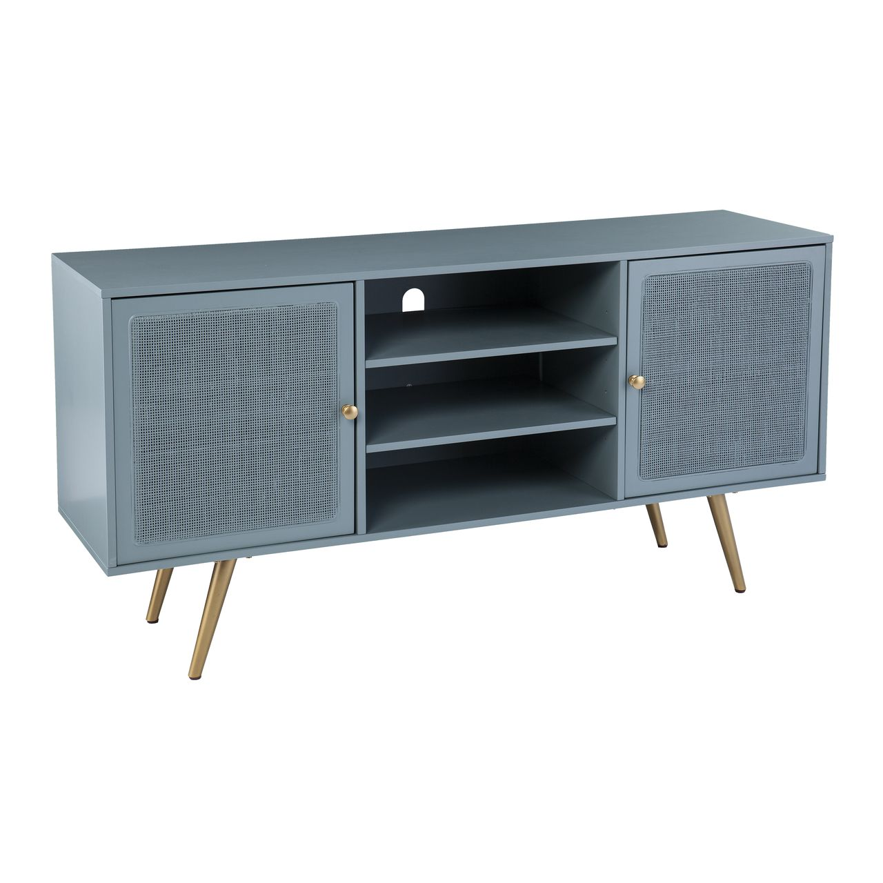 SEI Alsterson Media Stand With Storage in Mint And Gold