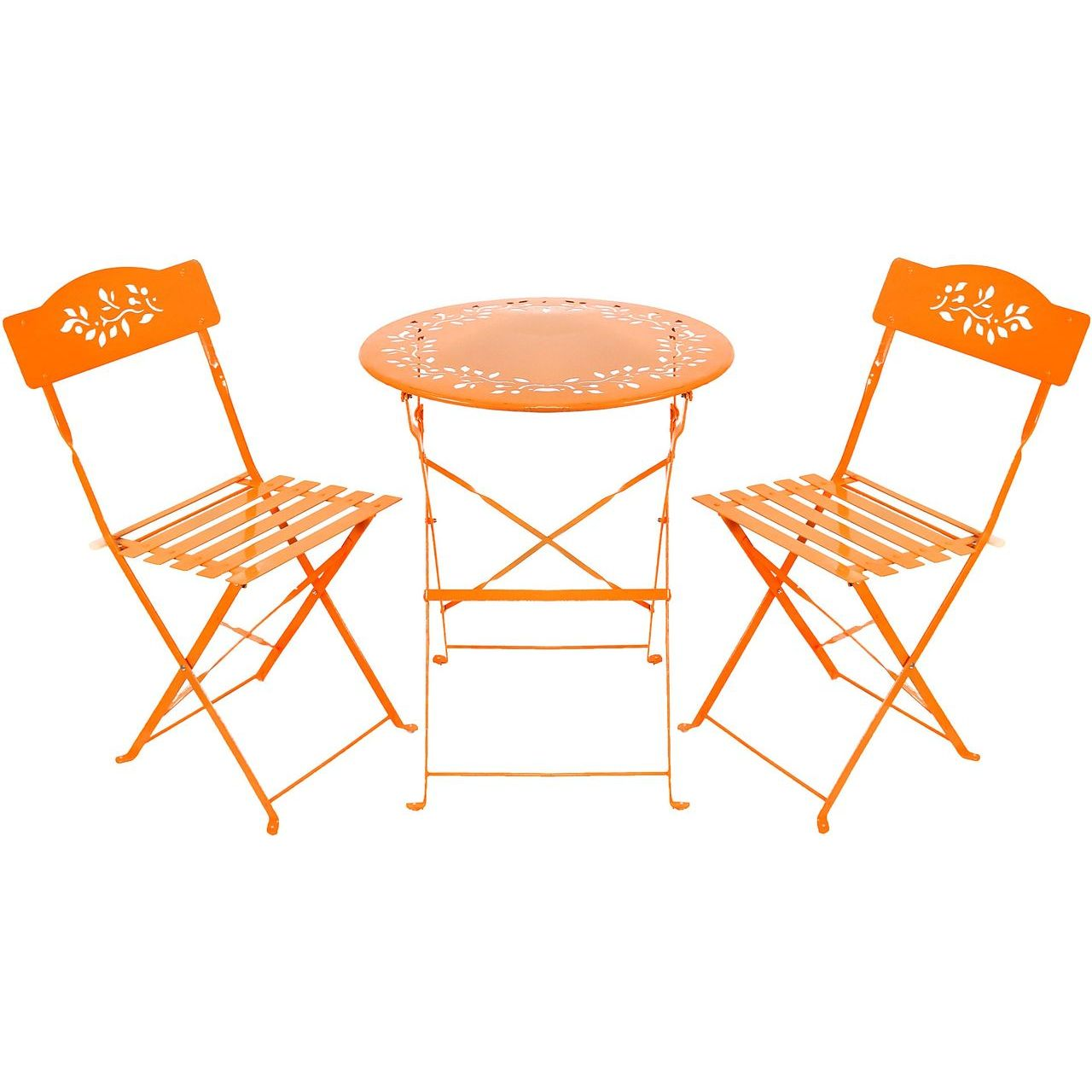 Alpine MSY100A-OR Orange Metal Table And Two Chairs Bistro Set