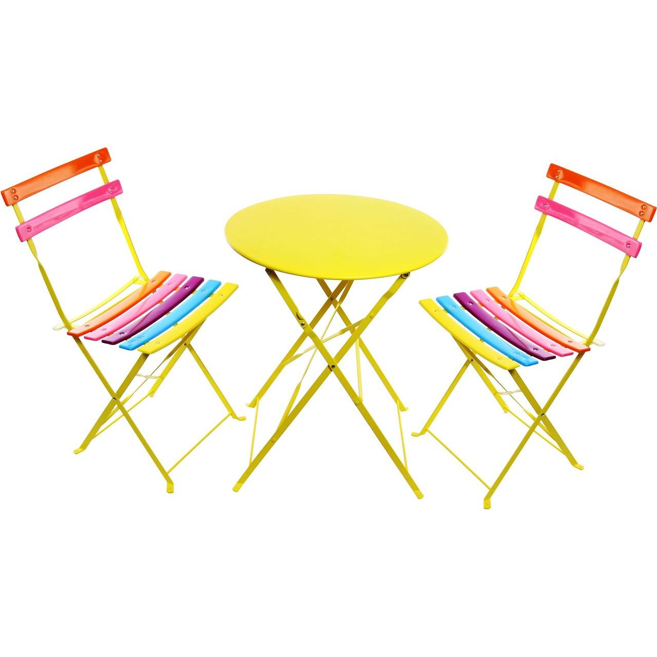 Alpine MSY114A Rainbow Metal Table and Two Chairs Bistro Set