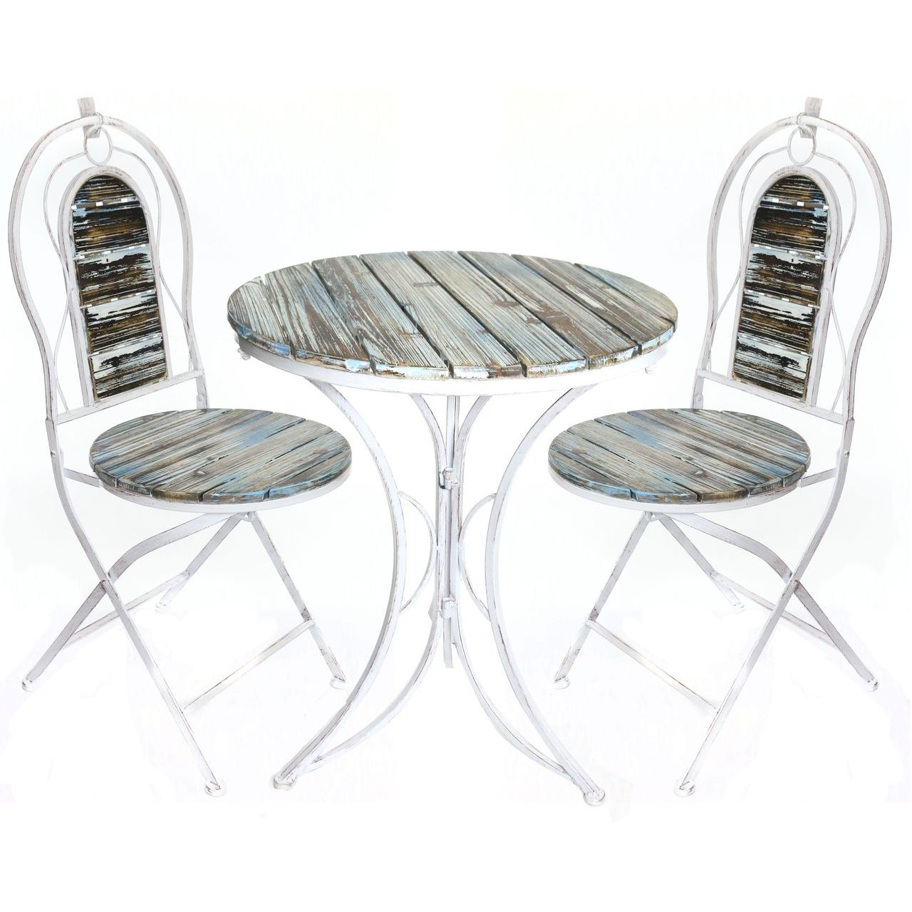 Alpine MZP278A Weathered Wood Table and Two Chairs Bistro Set
