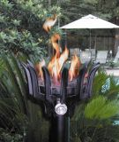 Cast Aluminum Malumai Style Automated Tiki Torch with Bamboo Pole - NG