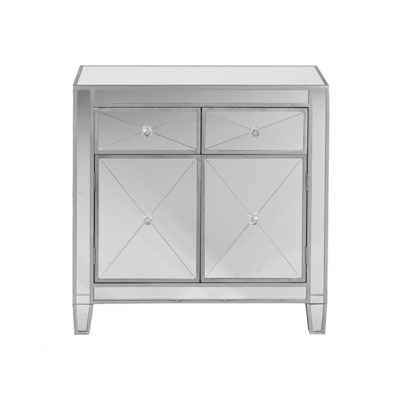 SEI Mirage Mirrored Cabinet in Metallic Silver