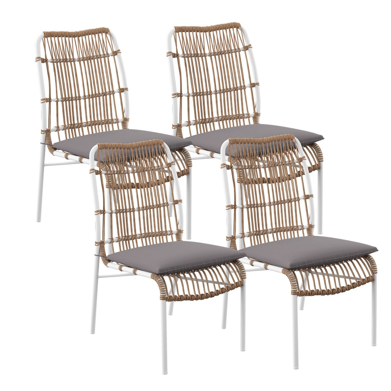 SEI Longino Outdoor Dining Chairs in Gray / White / Natural - Set of 4