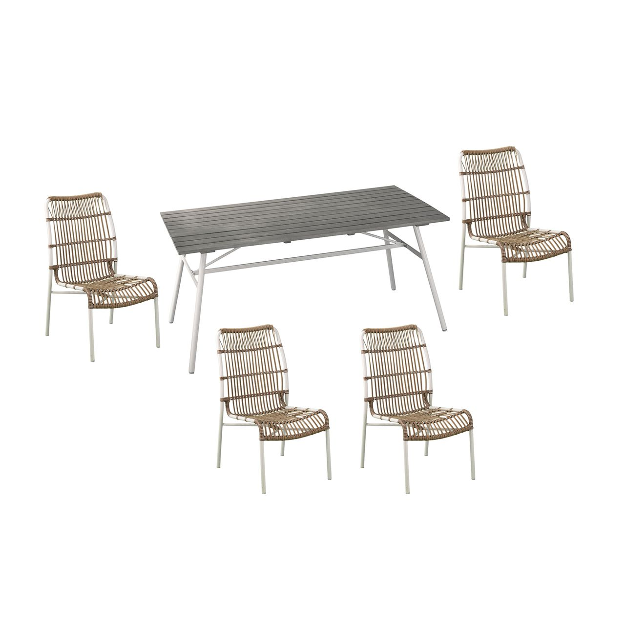 SEI Longino 5-Piece Outdoor Dining Set in Gray/ White / Natural