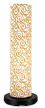 PatioGlo LED Bright White Floor Lamp with Orange Swirl Fabric Cover