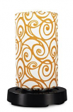 PatioGlo LED Table Lamp, Bright White with Orange Swirl Cover