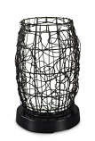PatioGlo LED Table Lamp, Bright White with Walnut Resin Wicker