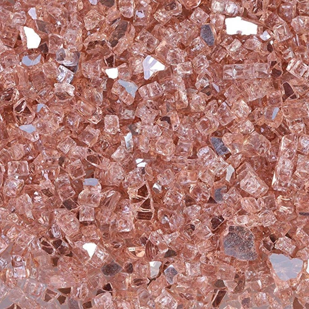 "Fireglass Plus 10 Lbs 1/4"" Reflective Fireglass - Rosegold"