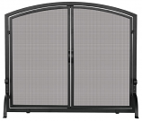 Single Panel Black Wrought Iron Screen With Doors- Medium