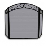 3 Fold Black Wrought Iron Arch Top Screen With Scrolls
