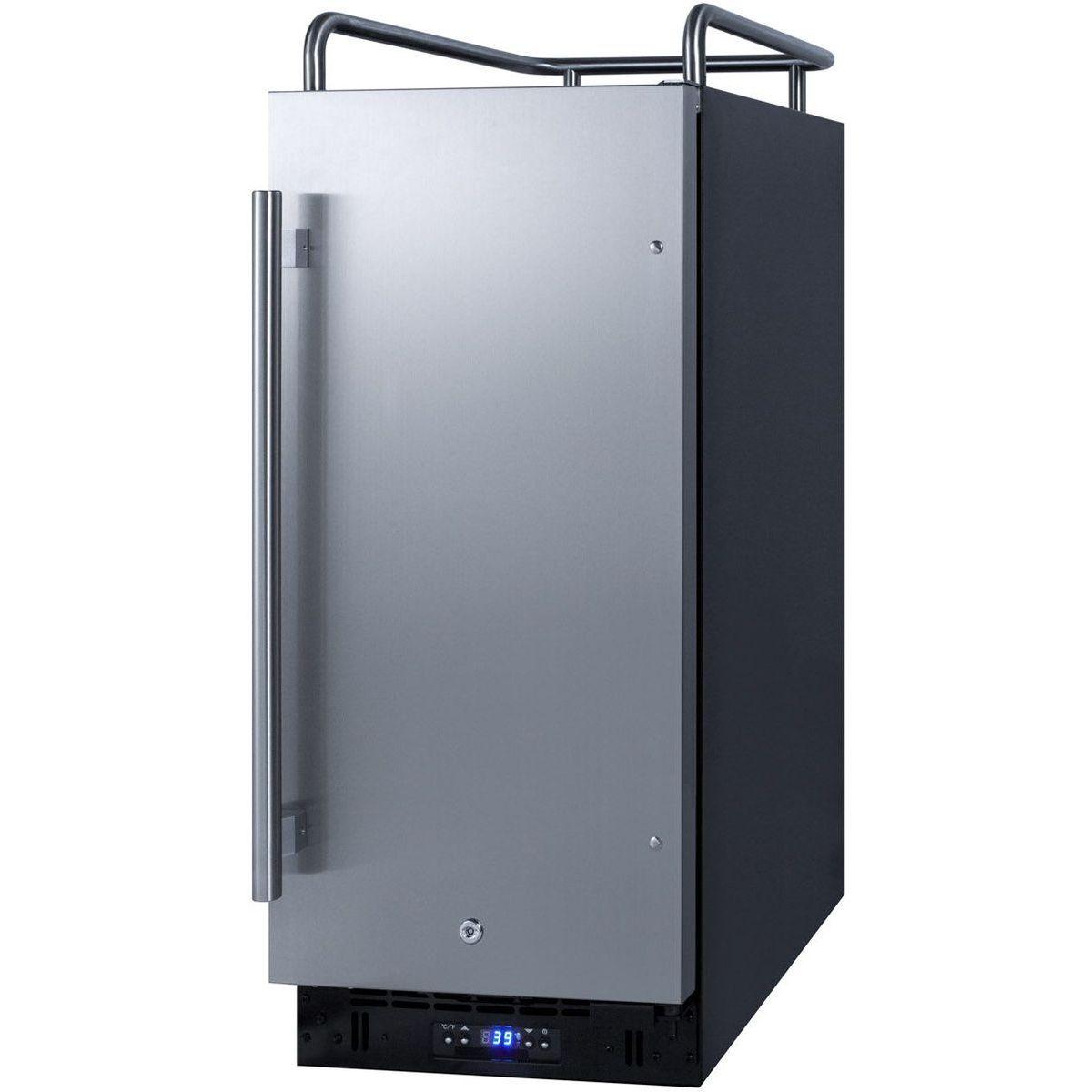 Summit SBC15NK 15''W Built-In Kegerator - Black/S Steel