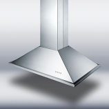 "36"" wide island range hood in stainless steel"