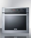 Summit SEW24SS 24'' Wide Electric Wall Oven - Black Glass