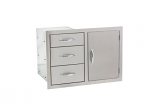 "33"" North American Stainless Steel 3-Drawer and Access Door Combo"
