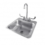 "Summerset Stainless Steel Drop-in Sink with Hot/Cold Faucet - 15""x15"""
