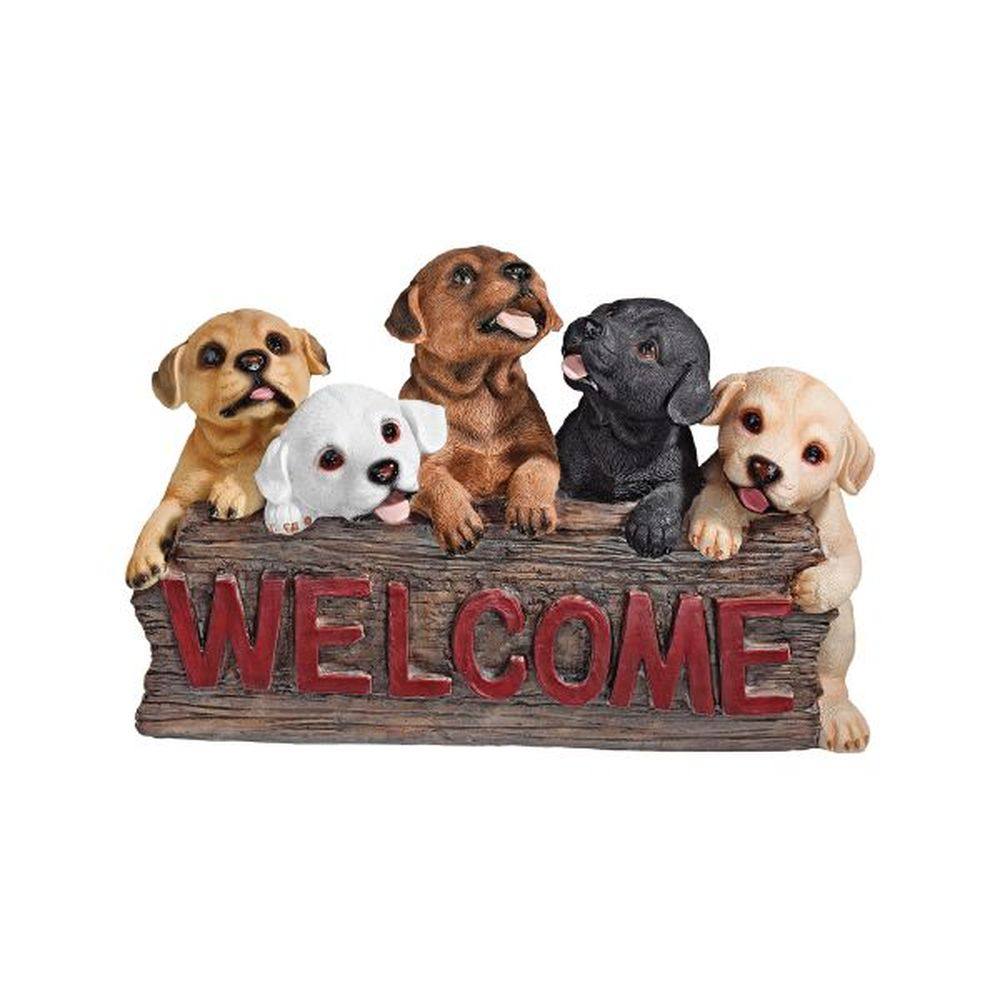 Design Toscano The Puppy Parade Dog Welcome Sign
