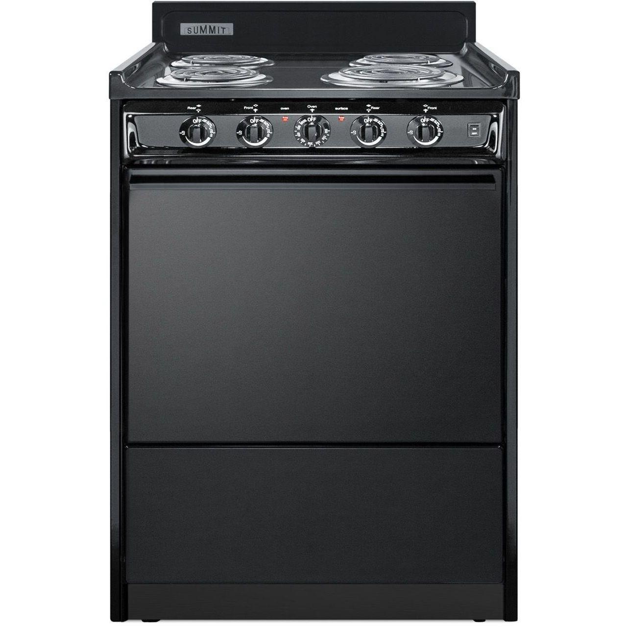 Summit TEM610C 24''W 4-Burner Electric Coil Range - Black/Black