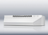 Ductless range hood 20 inch wide in white finish