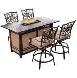 5-Piece High-Dining Set in Tan with 30,000 BTU Fire Pit Dining Table